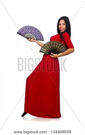 Woman in red dress with fan isolated on white