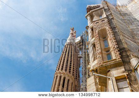 Barcelona Spain - May 2 2015: Barcelona Attractions La Sagrada Familia Catalonia Spain.