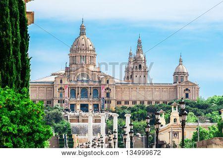 Barcelona Spain - May 2 2015: Barcelona Attractions National Museum in Barcelona Placa De Espanya Catalonia Spain.