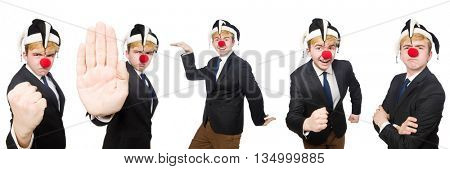 Collage of clown businessman isolated on white