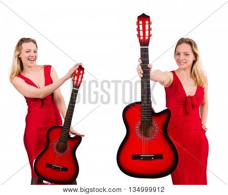 Pretty girl holding guitar isolated on white