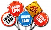 labor law, 3D rendering, rough street sign collection poster