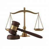 image of scales justice  - Gavel and scales isolated on white - JPG