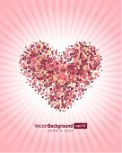 foto of heart shape  - Floral heart shape vector background - JPG