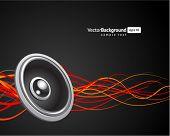 image of recording studio  - Speaker with waveform vector background - JPG