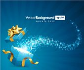 image of christmas-present  - Christmas vector background with open gift - JPG