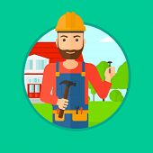 A hipster builder with the beard in uniform and helmet. A builder with hummer and nail in hands. Bui poster