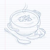 Постер, плакат: Pot of hot soup Soup hand drawn on notebook paper in line background Soup vector sketch illustrati