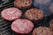Meat Burgers For Hamburger On Smoke Grill poster