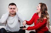 Wife Shouting At Husband. Cheating Man. Betrayal. poster