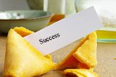 picture of confucious  - fortune cookie closeup with paper  - JPG