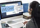 Live Chat Chatting Communication Digital Web Concept poster