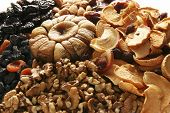 foto of dry fruit  - different types of dried fruits with a fig in the middle - JPG