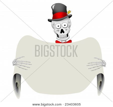 Dapper Skeleton with Blank Sign