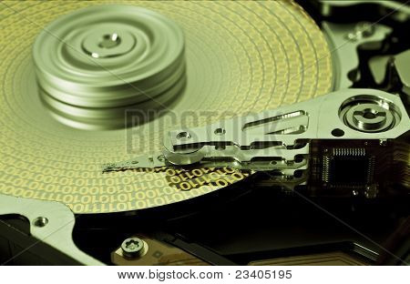 Hard Disk Drive With Yellow Data