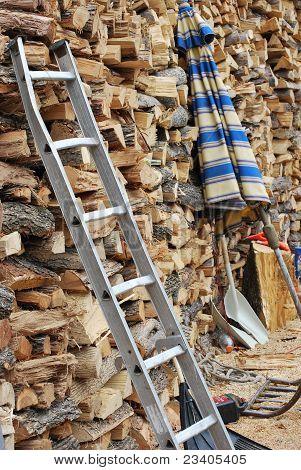 Pared de madera del fuego