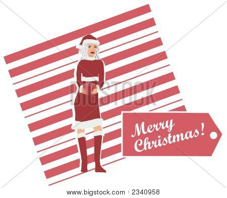 Mrs. Claus With Gift Design