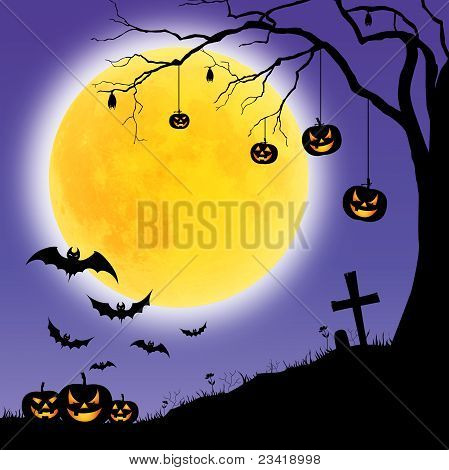Halloween pumpkins, Trees and bats,