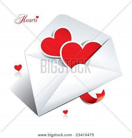 White Envelope With Two Hearts. Icon For Themes Like Love, Valentine's Day, Holidays.