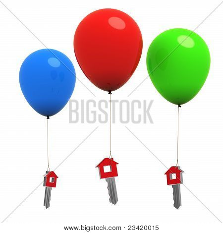 House Or Home Keys Hanging On Colorful Balloons - 3D