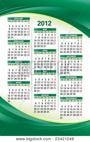 Vector Template Of 2012 Calendar On Green Background