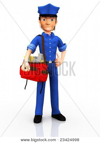 3D postman delivering the post - isolated over white