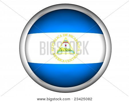 National Flag Of Nicaragua . Button Style .