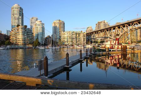 Sunset In Granville Island Vancouver Bc Canada.