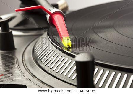 extreme closeup of a dj plate