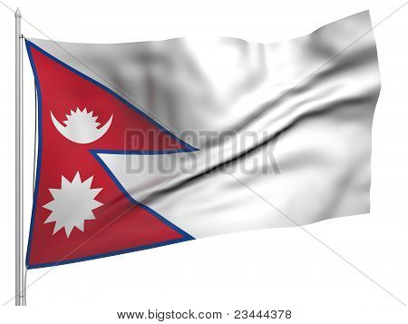 Flying Flag Of Nepal - All Countries