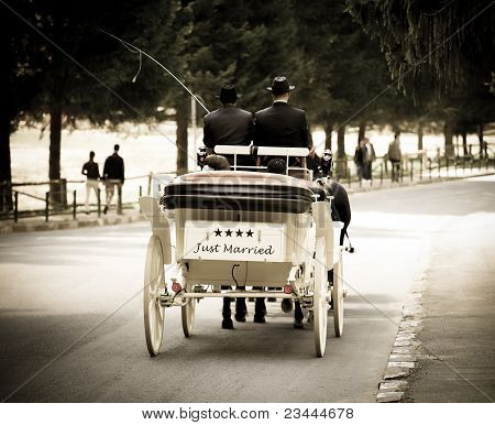 Just marriend young couple carriage
