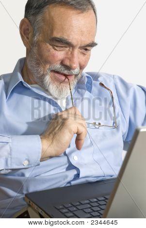 Senior On Laptop