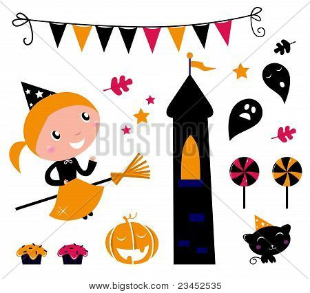 Halloween Witch Girl & Items, Icons And Design Elements ..