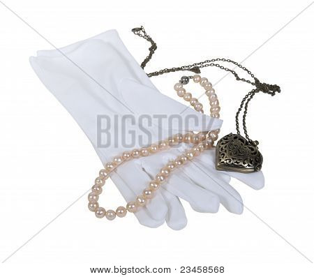 White Gloves With Pearls And Heart Locket