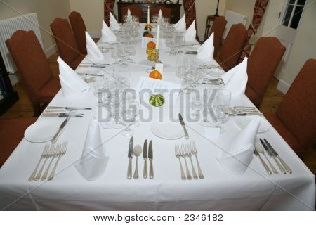 Restaurant Table Set For Celebration Dinner