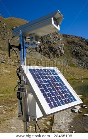 Solarpanel and webcam in the alps