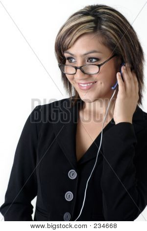 Business Woman Wearing Headset On White Background