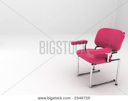 (3D) Red Chair In White Room