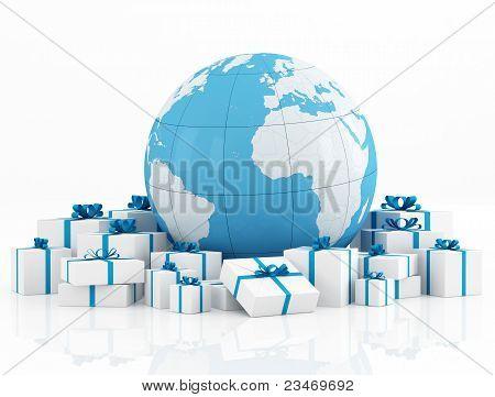 Globo da terra e caixa de presente