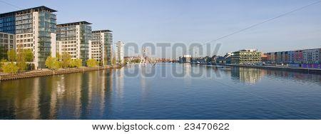 Panorama of river Spree in Berlin