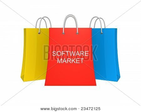 Set Of Three Software Market Shopping Bags