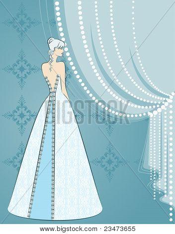 Illustration of beautiful bride on blue background
