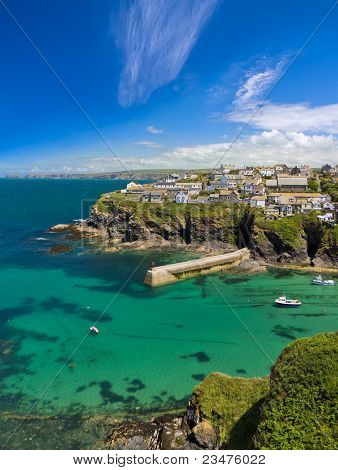 Cove and harbour of Port Isaac with blue skies, Cornwall, England