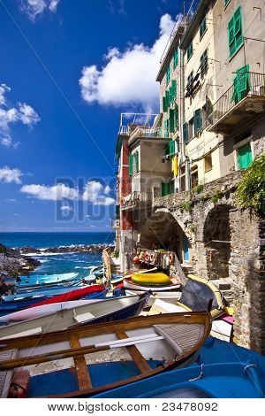 Riomaggiore Fisherman Village In Cinque Terre, Italy