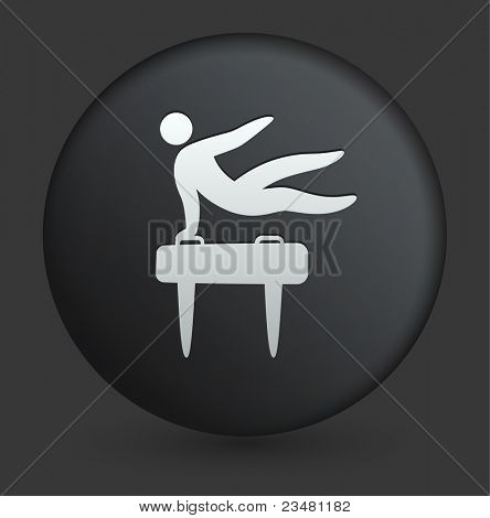 Pommel Horse Icon on Round Black Button Collection Original Illustration