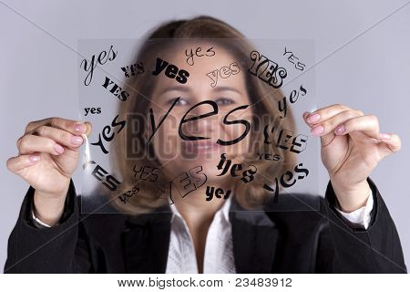 Businesswoman holding a acetate with lots YES words