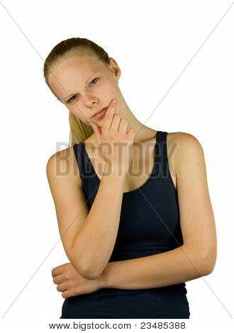 Young Thoughtful Woman On White Background