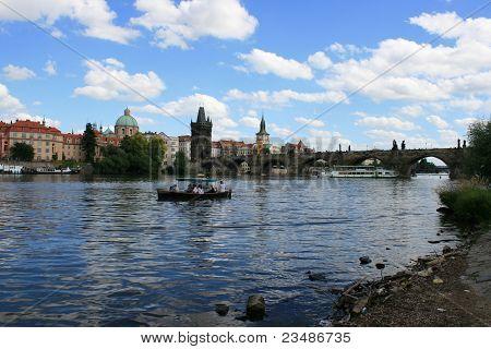 Boat on the river in Praha /Prague