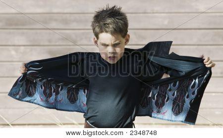 Boy Opening His Shirt