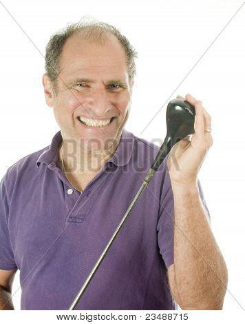 Man Middle Age Golf Wood Club